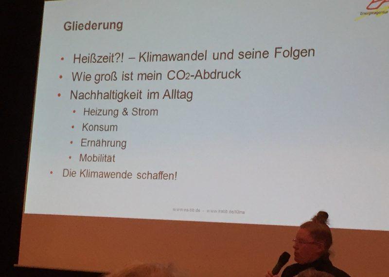 Vortrag der Klimamanagerin der Energieagentur Böblingen, Frau Derber